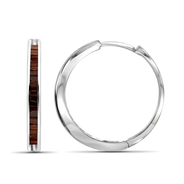 Jewelonfire 1/4 Carat T.w. Red Diamond Sterling Silver Hoop Earrings