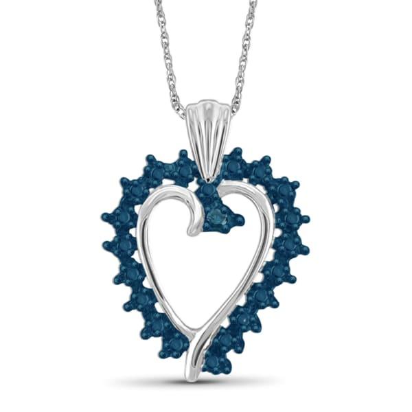 "Jewelonfire Blue Diamond Accent Sterling Silver Heart Pendant,18"""