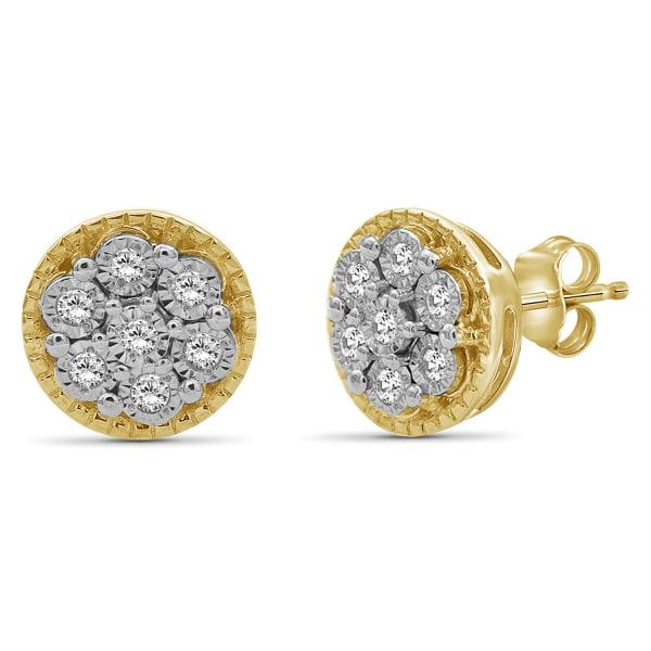 Jewelonfire 1/10 Carat T.w. White Diamond 14K Gold Over Silver Cluster Earrings