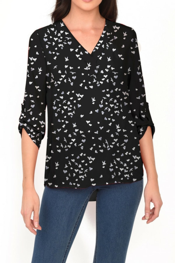 DR2 Casual Long Sleeve V-Neck Top