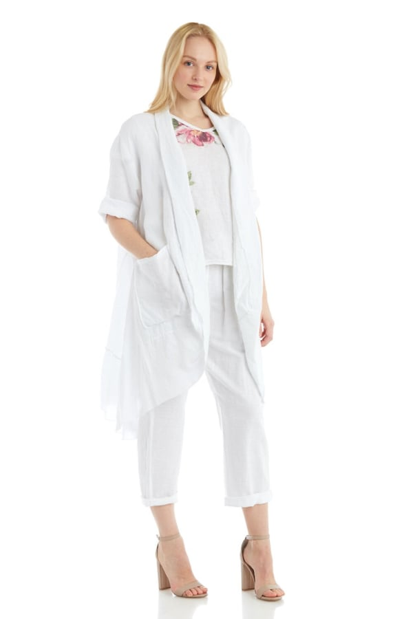 3/4 Sleeve Pocketed Linen Jacket With Ruffle Hem Panel
