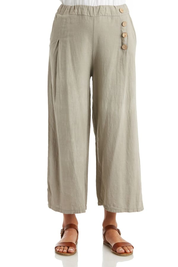 Solid Linen Pant With Four Button Detail