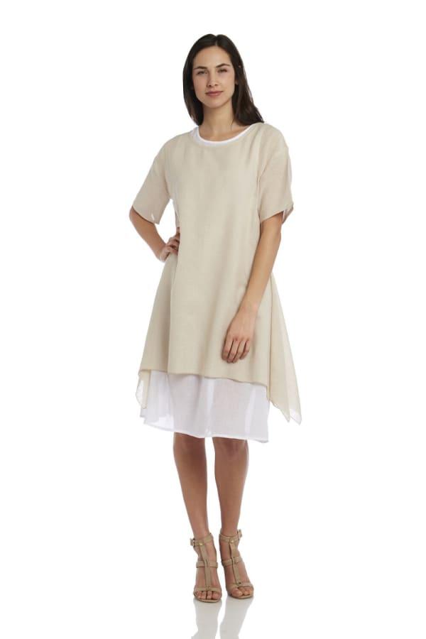 Short Sleeve Double Layer Sharkbite Hem Dress
