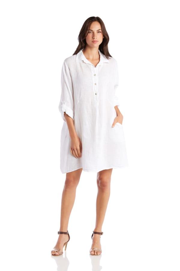 3/4 Sleeve Button Up Shirt Dress