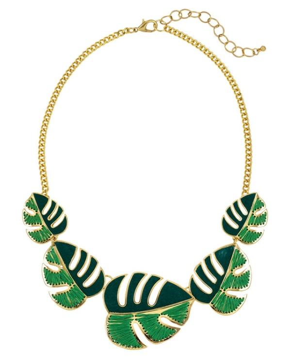 Carol Dauplaise Green Leaf Collar Necklace