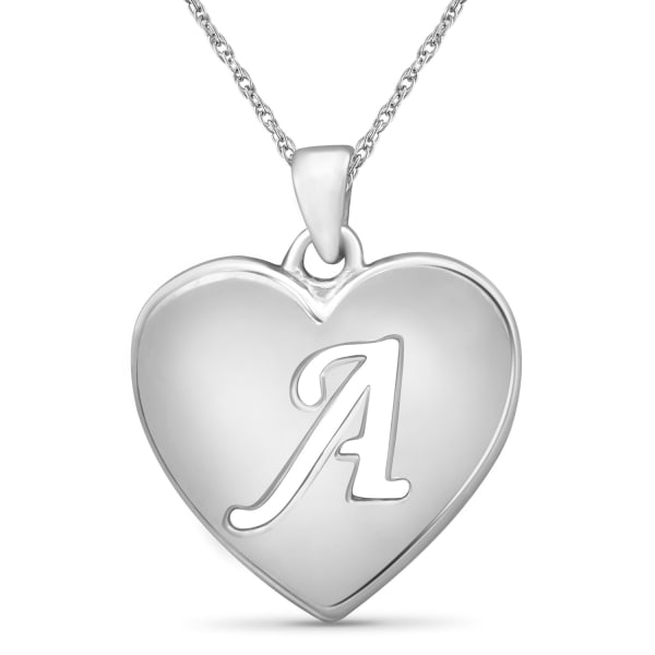 """Jewelonfire Sterling Silver A To Z """"A"""" Initial Cutout Heart Pendant,18"""""""