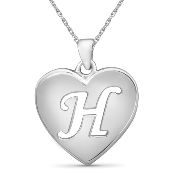 """Jewelonfire Sterling Silver A To Z """"H"""" Initial Cutout Heart Pendant,18"""""""