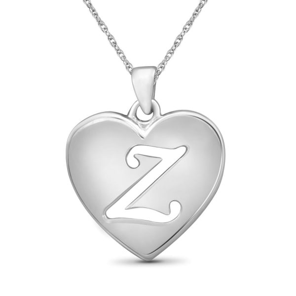 """Jewelonfire Sterling Silver A To Z """"Z"""" Initial Cutout Heart Pendant,18"""""""