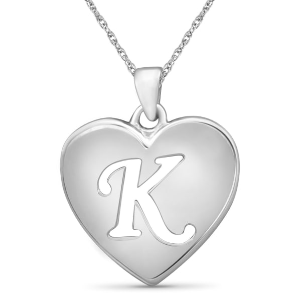 """Jewelonfire Sterling Silver A To Z """"K"""" Initial Cutout Heart Pendant,18"""""""