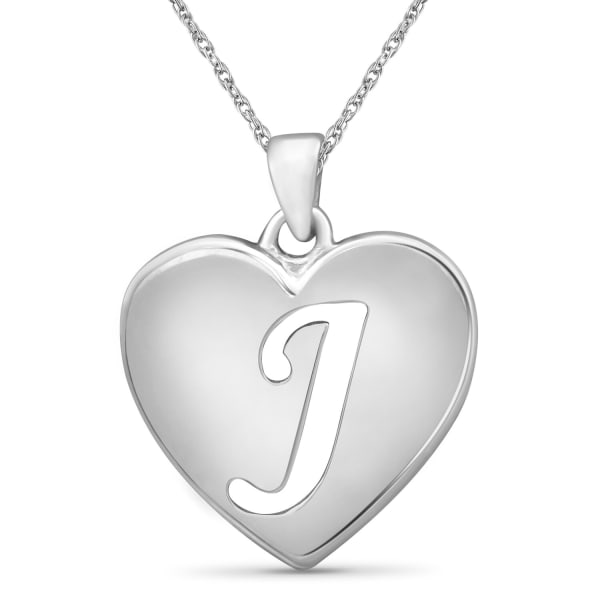"""Jewelonfire Sterling Silver A To Z """"J"""" Initial Cutout Heart Pendant,18"""""""