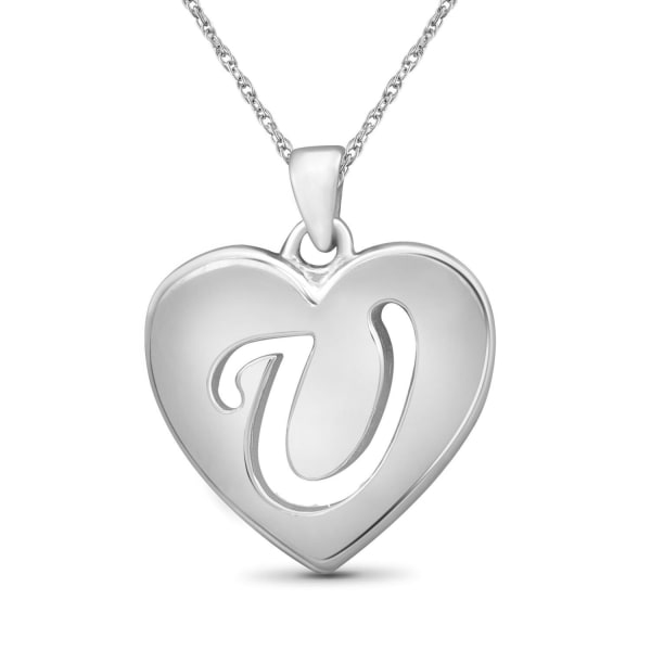 """Jewelonfire Sterling Silver A To Z """"V"""" Initial Cutout Heart Pendant,18"""""""