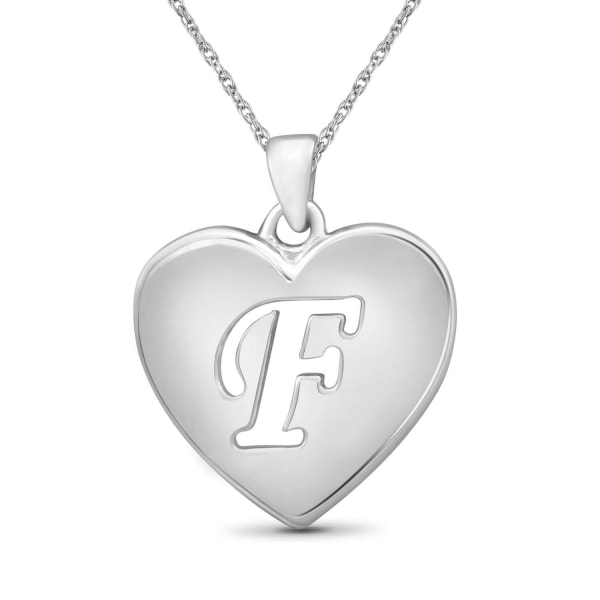 """Jewelonfire Sterling Silver A To Z """"F"""" Initial Cutout Heart Pendant,18"""""""