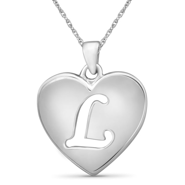 """Jewelonfire Sterling Silver A To Z """"L"""" Initial Cutout Heart Pendant,18"""""""