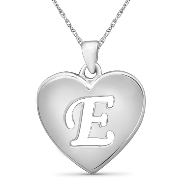 """Jewelonfire Sterling Silver A To Z """"E"""" Initial Cutout Heart Pendant,18"""""""