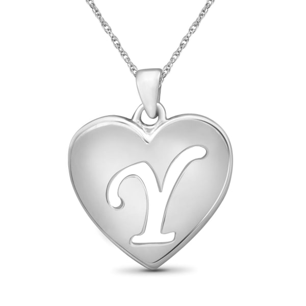 """Jewelonfire Sterling Silver A To Z """"Y"""" Initial Cutout Heart Pendant,18"""""""