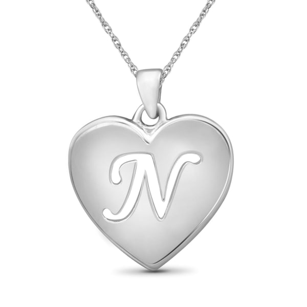 """Jewelonfire Sterling Silver A To Z """"N"""" Initial Cutout Heart Pendant,18"""""""