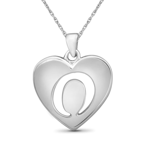 """Jewelonfire Sterling Silver A To Z """"O"""" Initial Cutout Heart Pendant,18"""""""