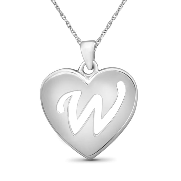 """Jewelonfire Sterling Silver A To Z """"W"""" Initial Cutout Heart Pendant,18"""""""