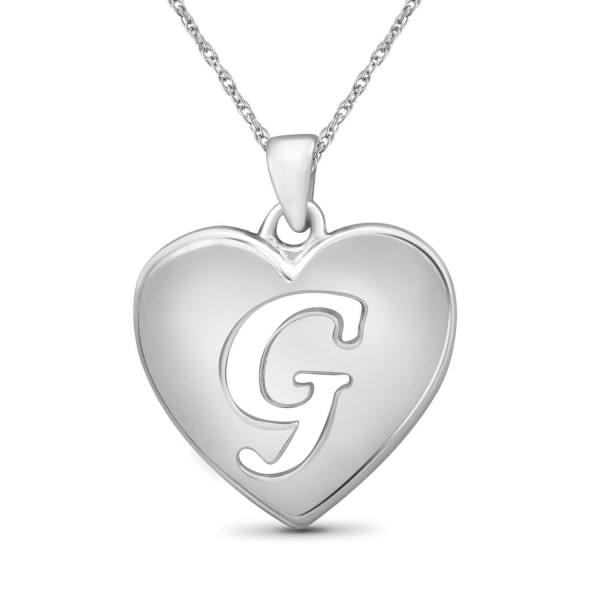 """Jewelonfire Sterling Silver A To Z """"G"""" Initial Cutout Heart Pendant,18"""""""