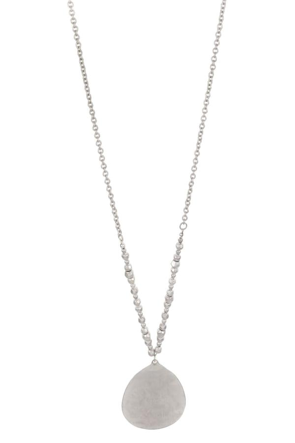 Carol Dauplaise Long Silver Tone Medallion Pendant