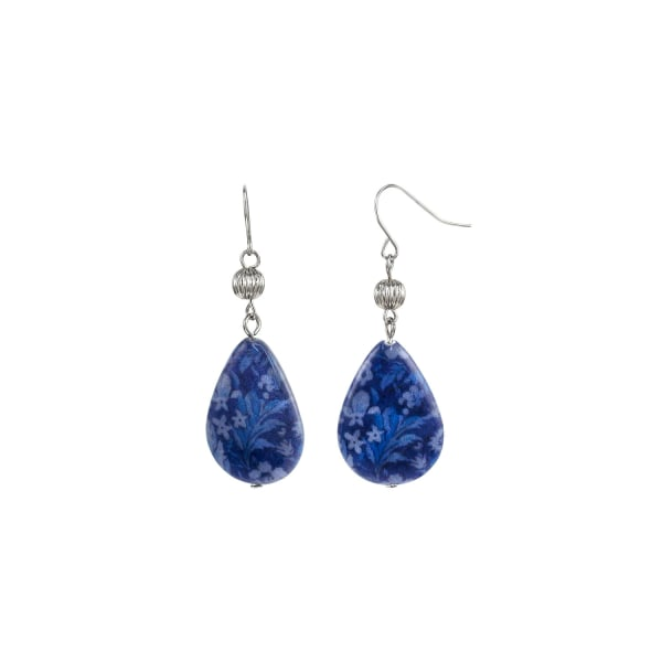 Carol Dauplaise Blue Shell Drop Earrings