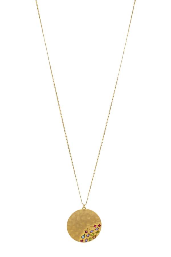 Carol Dauplaise Long Stone Medallion Necklace