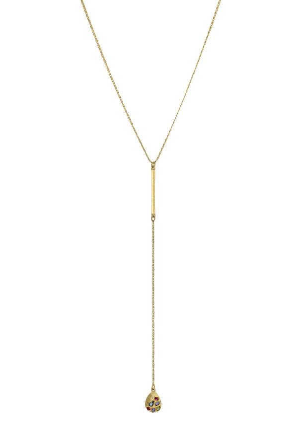 Carol Dauplaise Stone Y Necklace