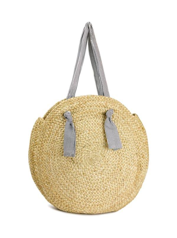 Straw Beach Tote Large Straw Circle W/Cotton Handle