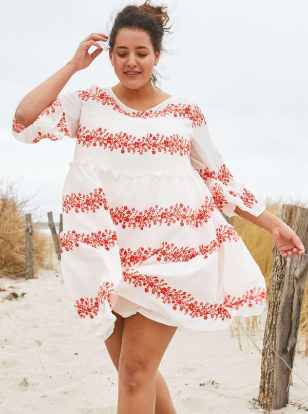 Vine Floral Babydoll Dress - Plus