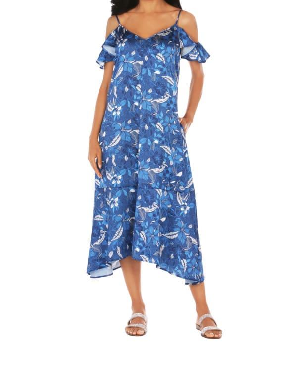 Caribbean Joe Ruffle Cold Shoulder Dress