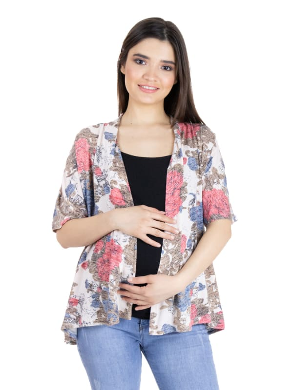 24Seven Comfort Apparel Short Sleeve Open Front Rose Print Top