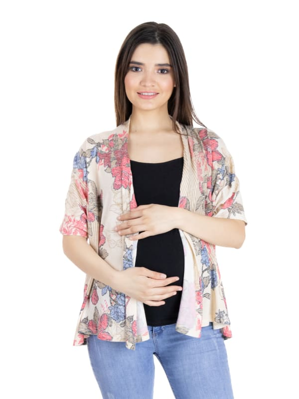 24Seven Comfort Apparel Short Sleeve Open Front Floral Maternityy Top
