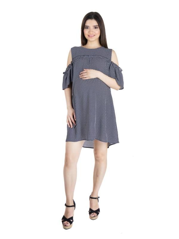 24Seven Comfort Apparel Womens Polka Dot Print Cold Shoulder Maternity Rayon Dress