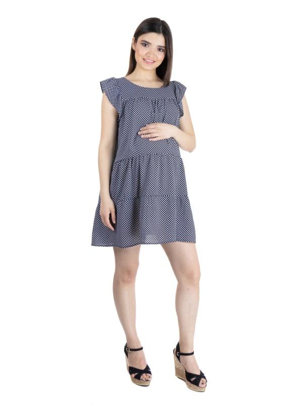 24Seven Comfort Apparel Womens Polka Dot Print Ruffle Sleeve Rayon Maternity Dress