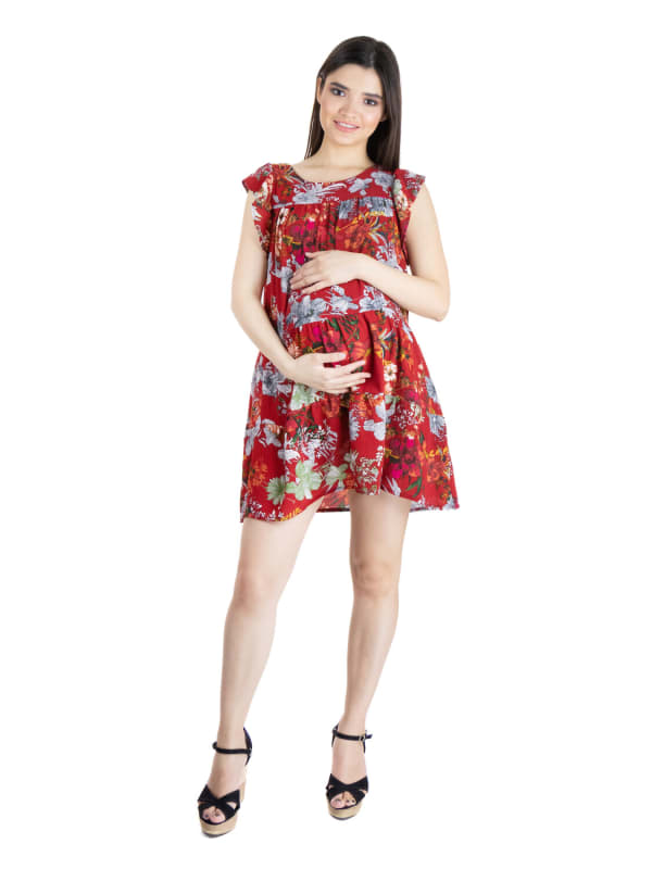 24Seven Comfort Apparel Womens Red Floral Ruffle Sleeve Rayon Maternity Dress