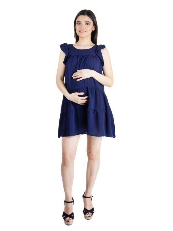 24Seven Comfort Apparel Womens Ruffle Sleeve Maternity Babydoll Summer Rayon Dress