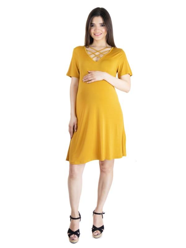 24Seven Comfort Apparel Short Sleeve Criss Cross Neckline Maternity T Shirt Dress