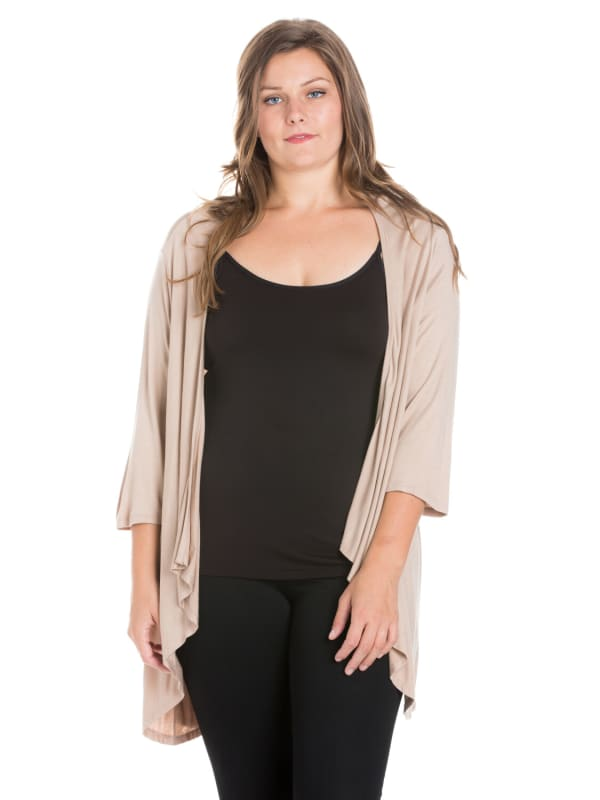 24Seven Comfort Apparel Elbow Length Sleeve Plus Size Open Cardigan