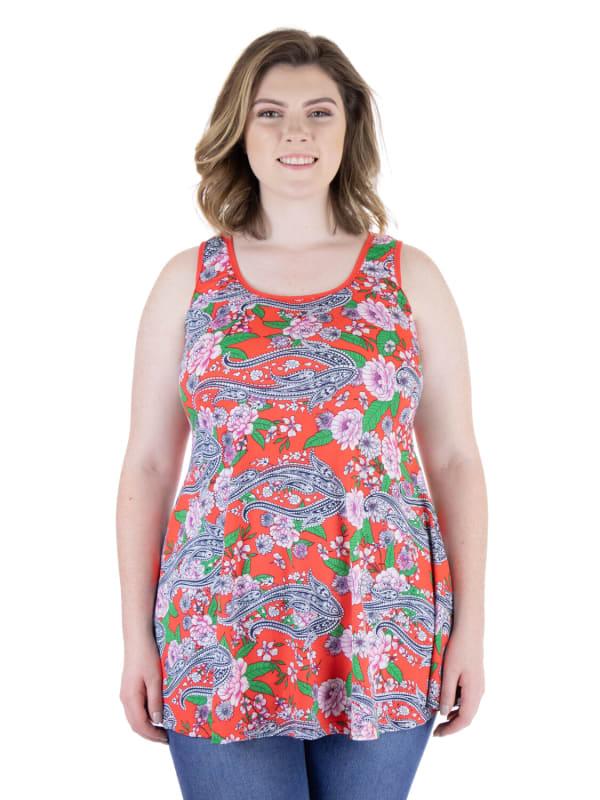 24Seven Comfort Apparel Flared Loose Fit Orange Floral Plus Size Tank Top