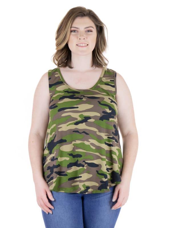 24Seven Comfort Apparel Green Camo Print Round Hem Razorback Plus Size Tank Top