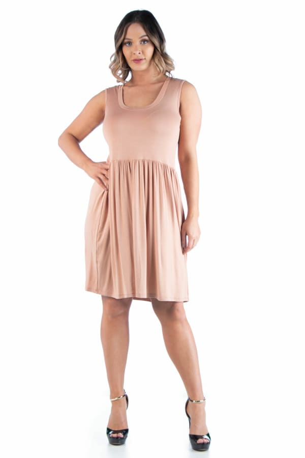 24Seven Comfort Apparel Sleeveless Pleated Plus Size Fit And Flare Dress