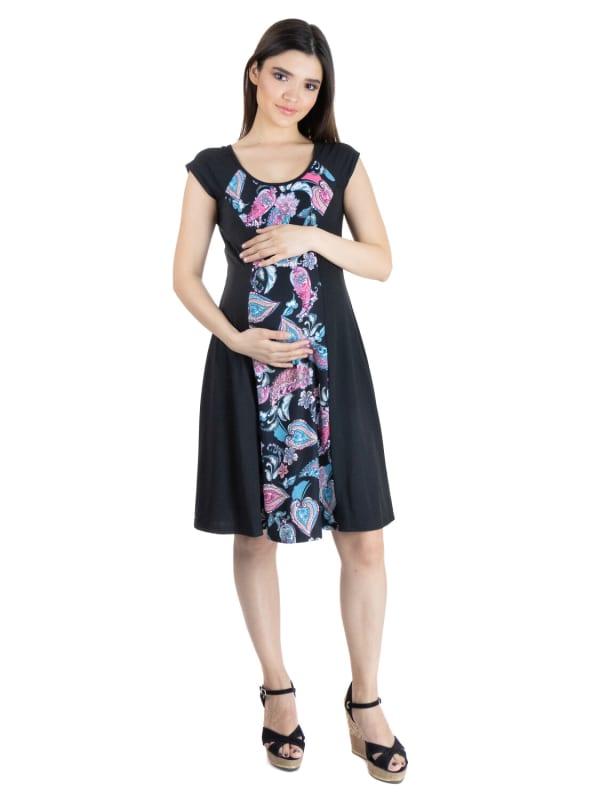 24Seven Comfort Apparel Knee Length Cap Sleeve Paisley Insert Maternity Dress