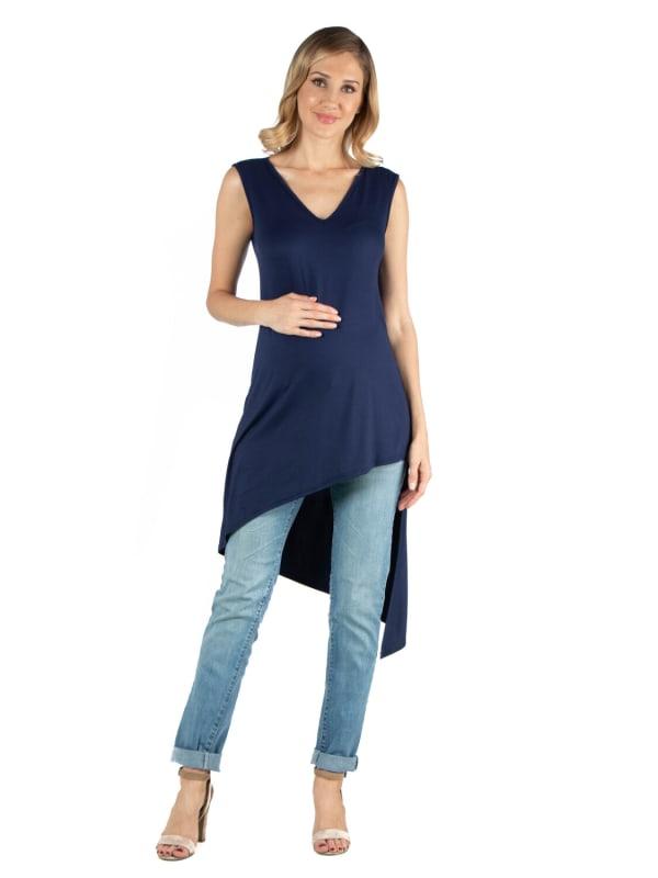 24Seven Comfort Apparel Long Sleeveless Maternity Top With V Neck And Asymmetric Hem