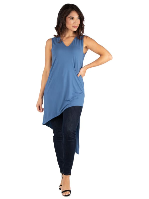24Seven Comfort Apparel Long Sleeveless Tunic Top With V Neck And Asymmetric Hem