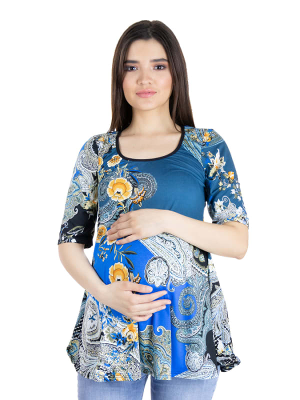 24Seven Comfort Apparel Blue Paisley Elbow Sleeve Flared Maternity Tunic Top