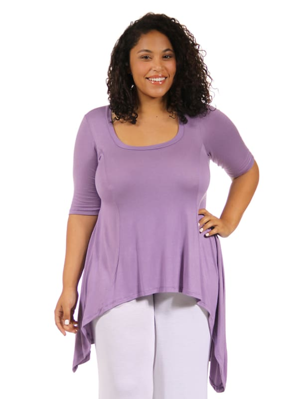 24Seven Comfort Apparel Extra Long High Low Plus Size Tunic Top