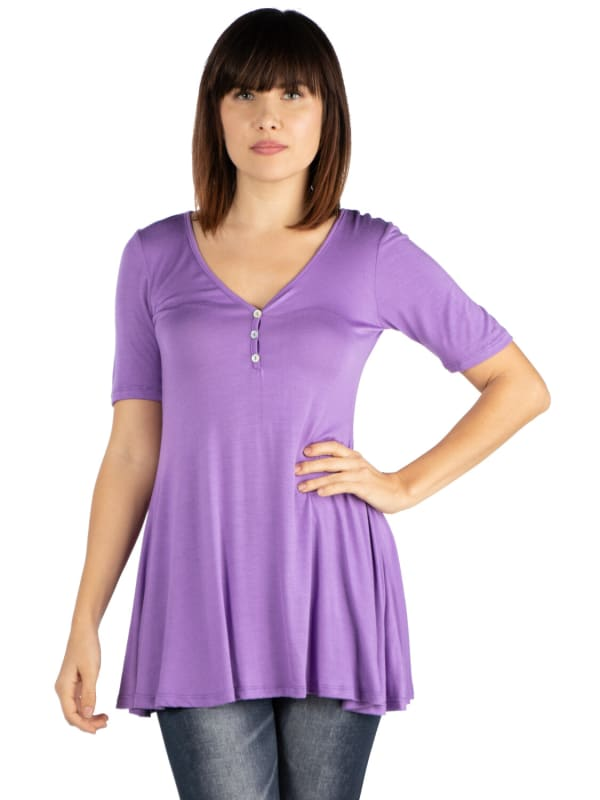 24Seven Comfort Apparel Short Sleeve Tunic Top With Button Detail