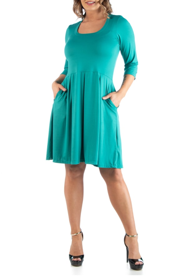 24Seven Comfort Apparel Fit And Flare Plus Size Dress