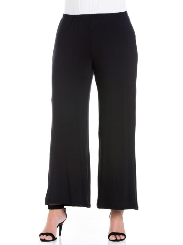 24Seven Comfort Apparel Womens Plus Wide-Leg Palazzo Pants