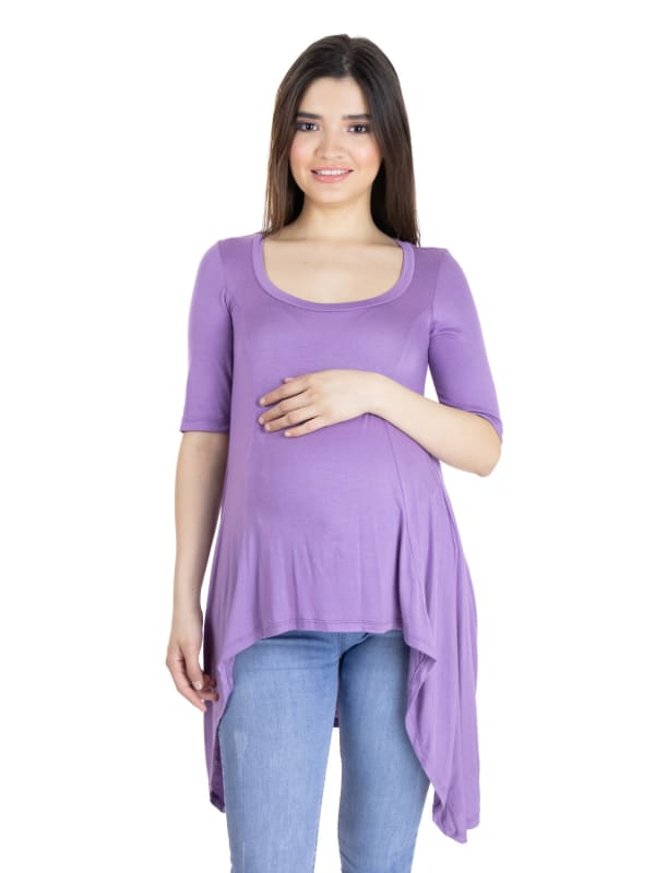 24Seven Comfort Apparel Extra Long High Low Maternity Tunic Top